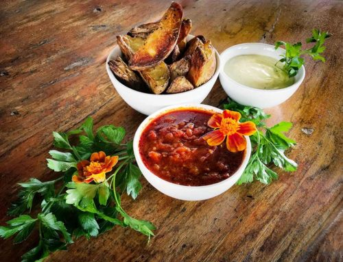 Oven Roasted Wedges with Vegan Aioli and Healthy Ketchup