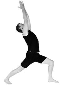 John Ogilvie doing yoga asana Virabhadrasana 1